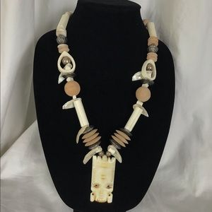Vintage Tribal Ethnic Carved Bone Necklace